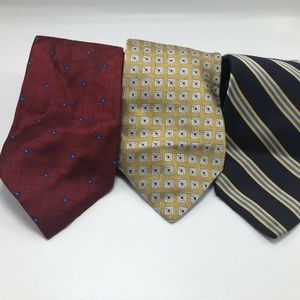Lot of 3 Mens Brooks Brothers Neck Ties Gold Blue